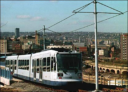 A tram from the Sheffield Supertram system