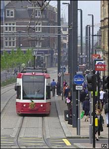 A tram in Croydon