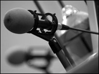 Microphones in radio studio, BBC