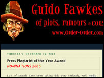 Screengrab of Guido Fawkes website, Guido Fawkes
