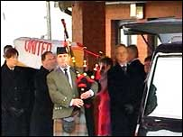 George Best's coffin arrives