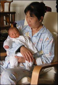 Dong Ayi in her pyjamas with Daniel