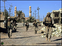 US Marines patrol the streets of Falluja earlier in November