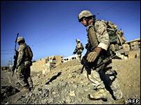 US Marines patrol the streets of Falluja