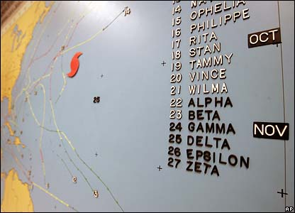Hurricane Epsilon is listed on a wall-sized map at the National Hurricane Center in Miami, Florida
