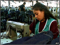 A seamstresses in the Chentex factory in Tipitapa, Nicaragua