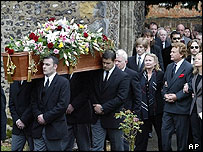 Pallbearers carry the coffin containing British actor Sir John Mills from St Mary's Church in Denham