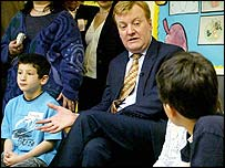 Mr Kennedy talks to pupils at Weston Park Primary School in Hornsey, London