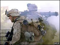 US marines in action in western Iraq
