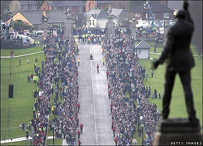 Mourners at Stormont