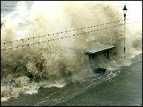 Rough sea floods promenade