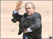 President Bush and dog Barney