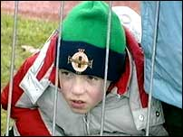 A young football fan at Stormont
