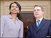 Condoleezza Rice and Alvaro Uribe