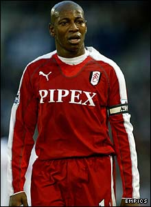 Luis Boa Morte is dismayed after being sent off