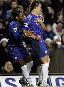Didier Drogba congratulates John Terry