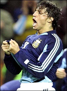 Argentina striker Hernan Crespo will be suitably assisted from midfield by Juan Roman Riquelme