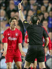 Liverpool midfielder Xabi Alonso shows his anguish at his yellow card against Chelsea in the Champions League semi-final first leg