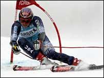 Bode Miller takes on the slalom course in Kranjska Gora