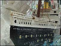 Mr Colling's earlier matchstick model of the Titanic - 6ft 2ins long