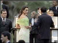 Wedding guests pass through security checks