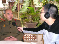 General Thao talks to a BBC Vietnamese reporter in Hanoi