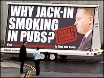 Jack McConnell on poster against smoke ban