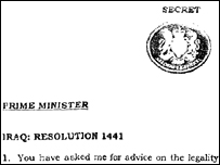 Attorney General Lord Goldsmith's advice of 7 March 2003