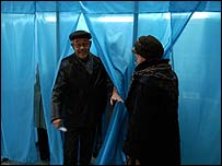 Voters in Almaty