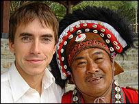 Simon Reeve with an aboriginal tribal chief in Taiwan