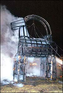 The straw goat after it was set alight in Gavle, Sweden