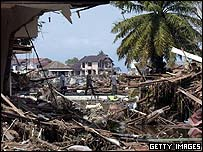 Scene of destruction in Banda Aceh caused by the Asian tsunami