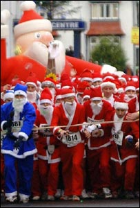 Santas at the race starting line