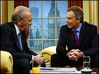 Sir David Frost interviewing Tony Blair