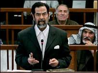 Former Iraqi leader Saddam Hussein in court. File photo