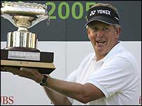 Colin Montgomerie celebrates with the Hong Kong Open trophy