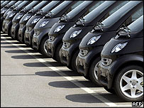 Rows of Smart cars waiting to be sold