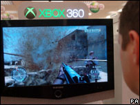 Xbox 360 customer playing Call of Duty 2, PA