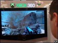 Xbox 360 customer playing Call of Duty 2, PA