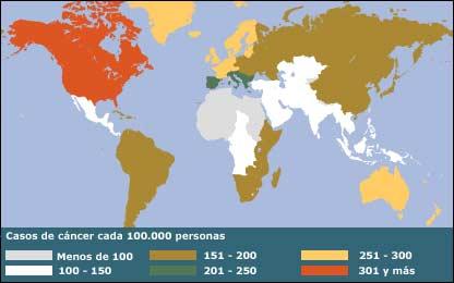 Mapa indicando la incidencia del cáncer en el mundo