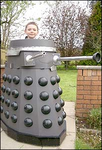 Christopher Grylls inside Dewi the Dalek