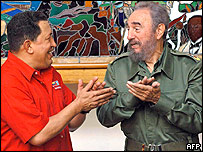 Venezuelan President Hugo Chavez and Cuban President Fidel Castro
