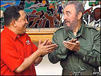 Venezuelan President Hugo Chavez and Cuban President Fidel Castro