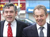 Gordon Brown and Tony Blair in Peckham, London, on 5 December, 2005