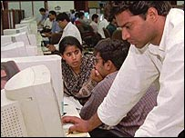 Indian computer worker in Bangalore
