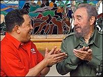 Fidel Castro, presidente de Cuba, y Hugo Ch�vez, presidente de Venezuela.
