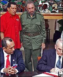 Fidel Castro, presidente de Cuba, y Hugo Chávez, presidente de Venezuela.