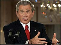 President George Bush during a White House news conference on 28 April
