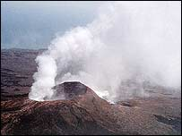 Sulfur dioxide and other volcanic gases rise from the Pu'u 'O'o vent on Kilauea Volcano, Hawaii, in 1995   Photo: US Geological Survey