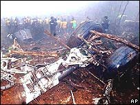 Wreckage of a crashed passenger plane